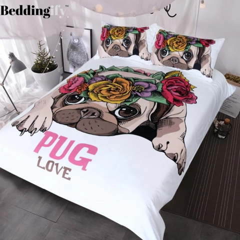 Image of Love Pug Rose Bedding Set - Beddingify