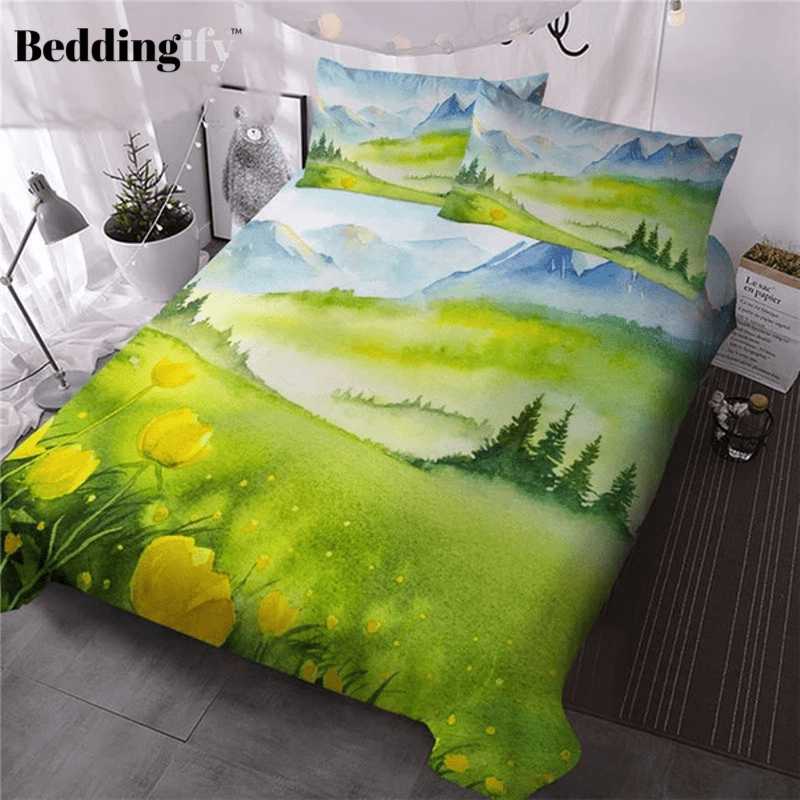 Spring Mountain Art Landscape Bedding Set - Beddingify