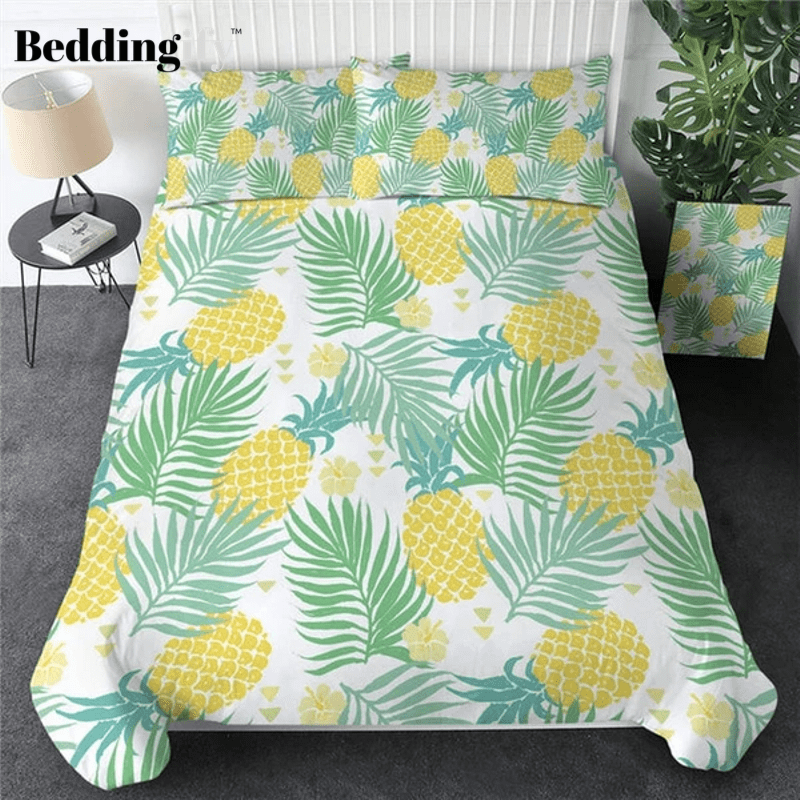 Pineapple Tropical Palm Leave Bedding Set - Beddingify