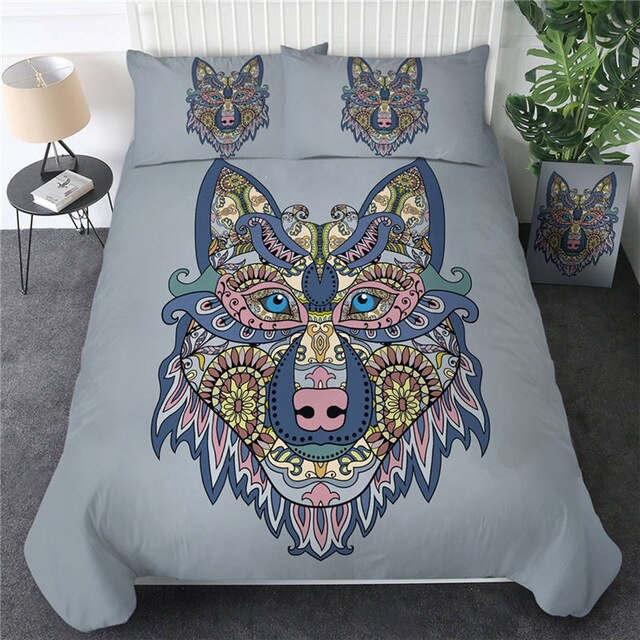 Colorful Wolf Bedding Set - Beddingify