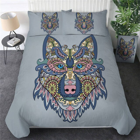 Image of Colorful Wolf Bedding Set - Beddingify