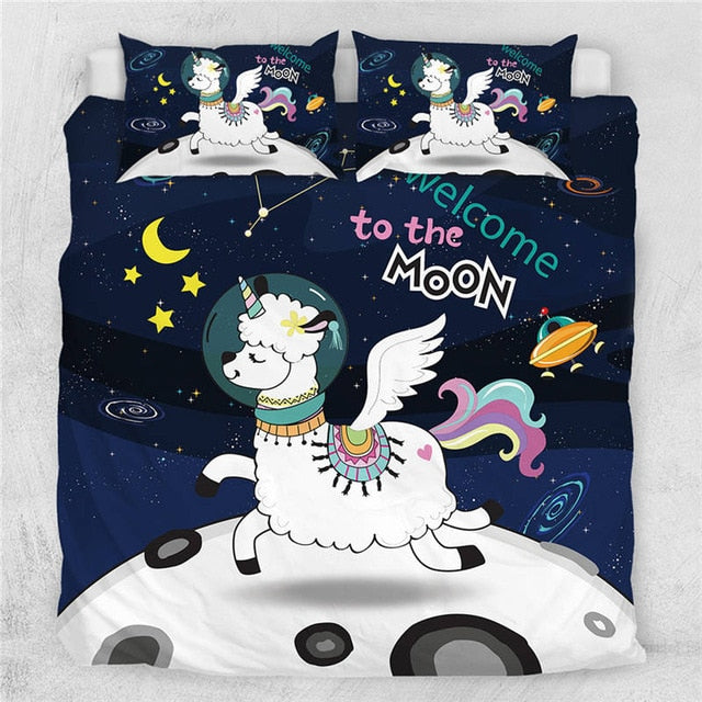 Unicorn Llama Quilt Cover Bedding Set - Beddingify