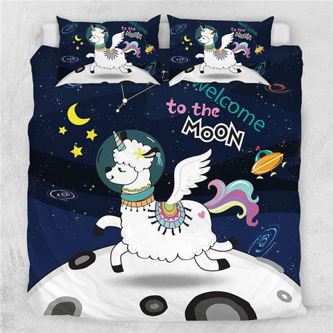 Image of Unicorn Llama Quilt Cover Bedding Set - Beddingify