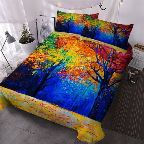 Image of Autumn Trees Leaves Bedding Set - Beddingify
