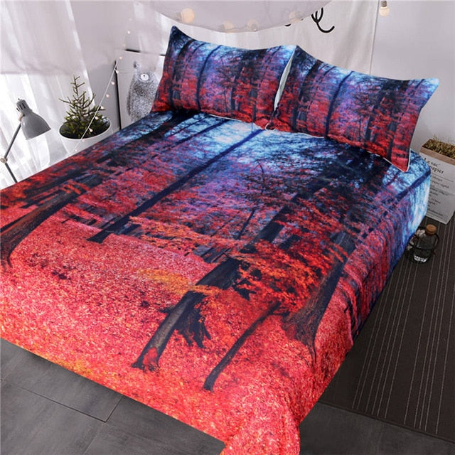 Autumn Trees Leaves Bedding Set - Beddingify