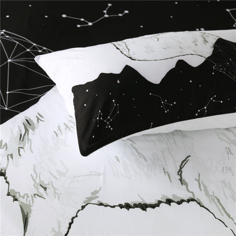 Image of Wolf Constellation Lines Bedding Set - Beddingify