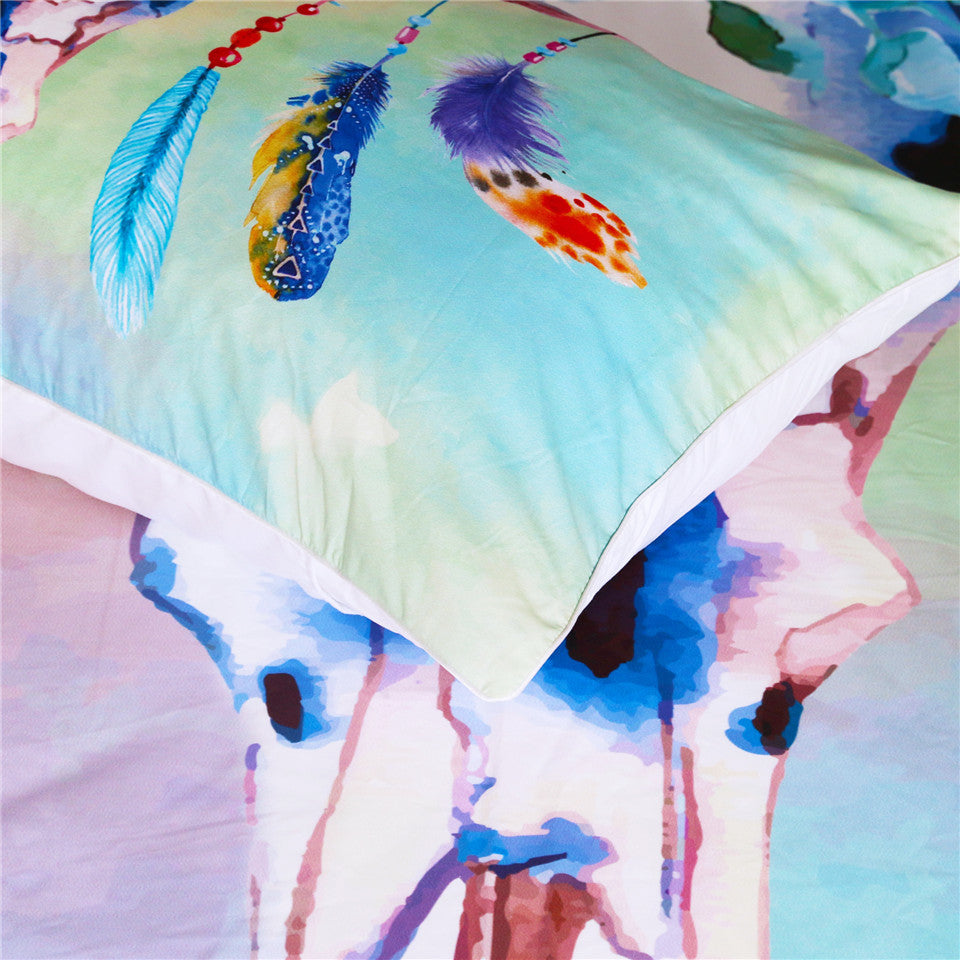 Watercolor Skull Feathers Bedding Set - Beddingify