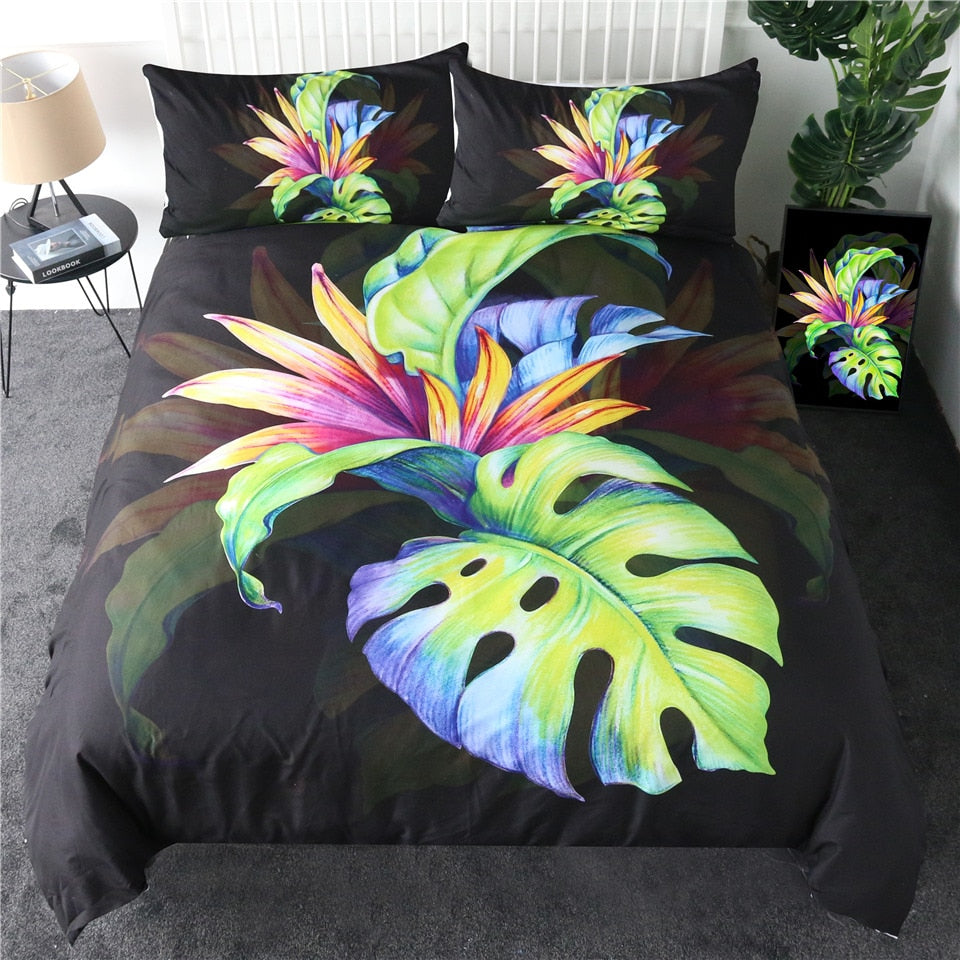 Tropical Green Leaf Bedding Set - Beddingify