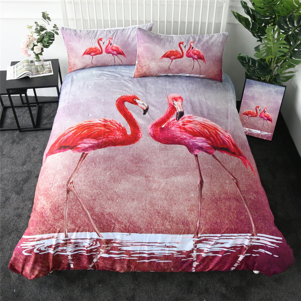 Watercolor Flamingos Bedding Set - Beddingify