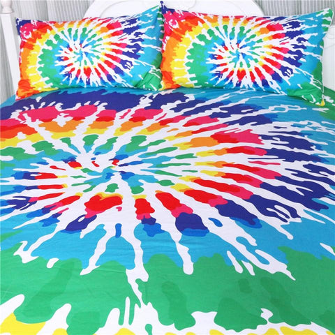 Image of Rainbow Tie Dye Bedding Set - Beddingify