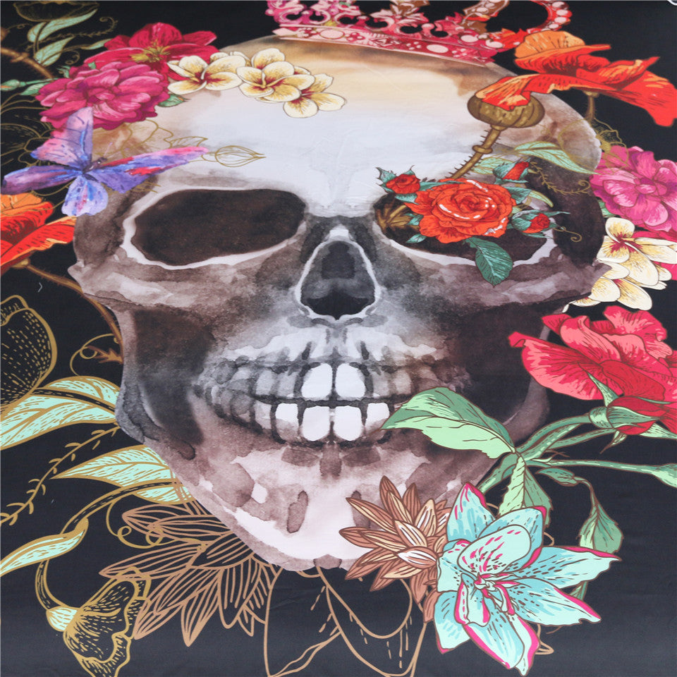 Crowned Floral Skull Bedding Set - Beddingify