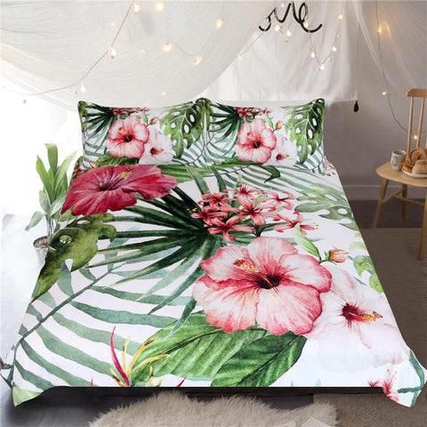 Image of Flowers Leaves Comforter Set - Beddingify