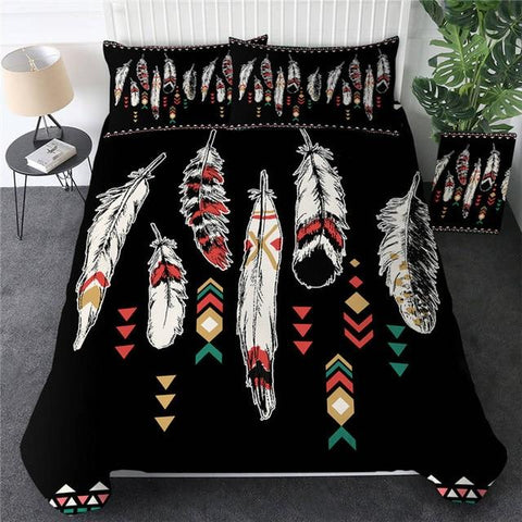 Image of Ethnic Feathers Bohemian Comforter Set - Beddingify