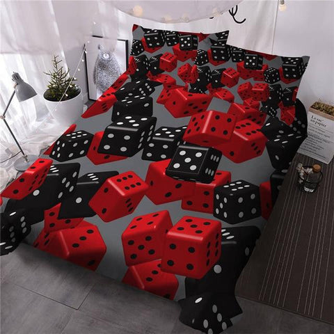 Red Black Dice Bedding Set - Beddingify