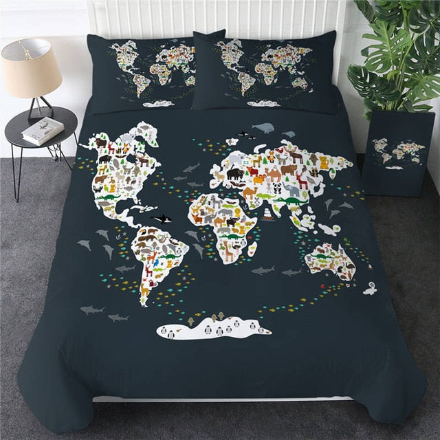 World Map Bedding Set - Beddingify