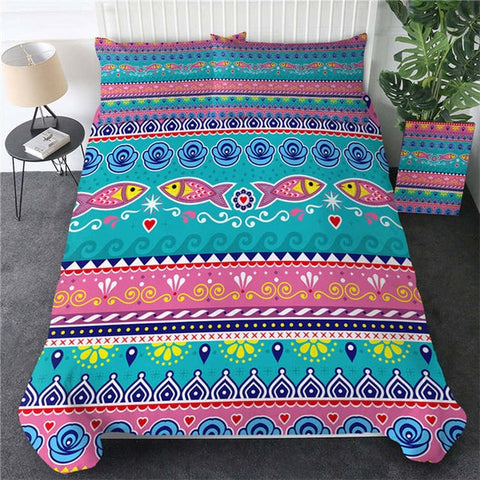 Image of Fish Aztec Bedding Set - Beddingify