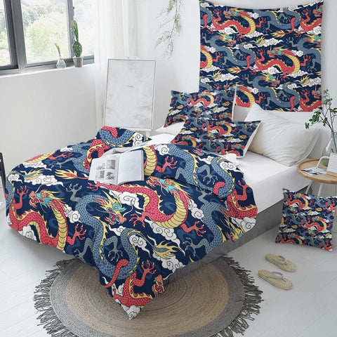 Image of Flying Dragon Comforter Set - Beddingify