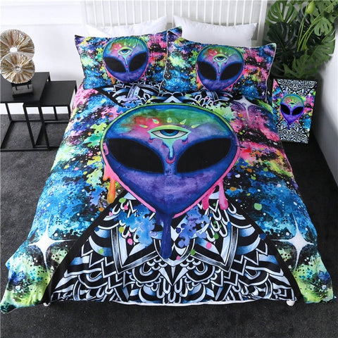 Trippy Watercolor Alien Bedding Set - Beddingify