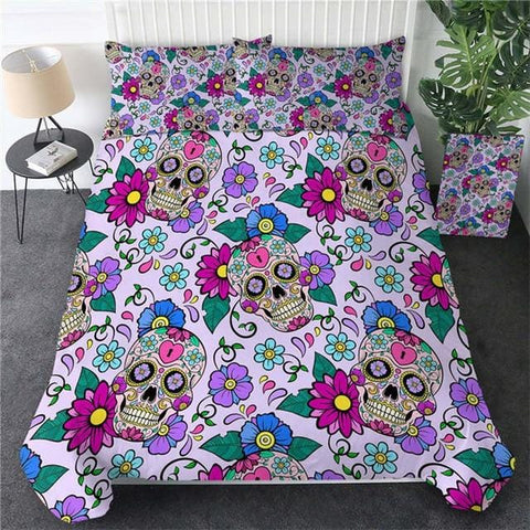 Image of Red Rose Skull Bedding Set - Beddingify