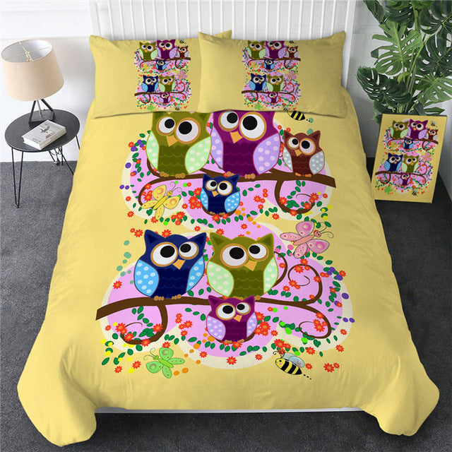 Cartoon Owl Bedding Set - Beddingify