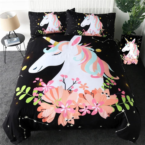 Image of Pink Flower Unicorn Bedding Set - Beddingify