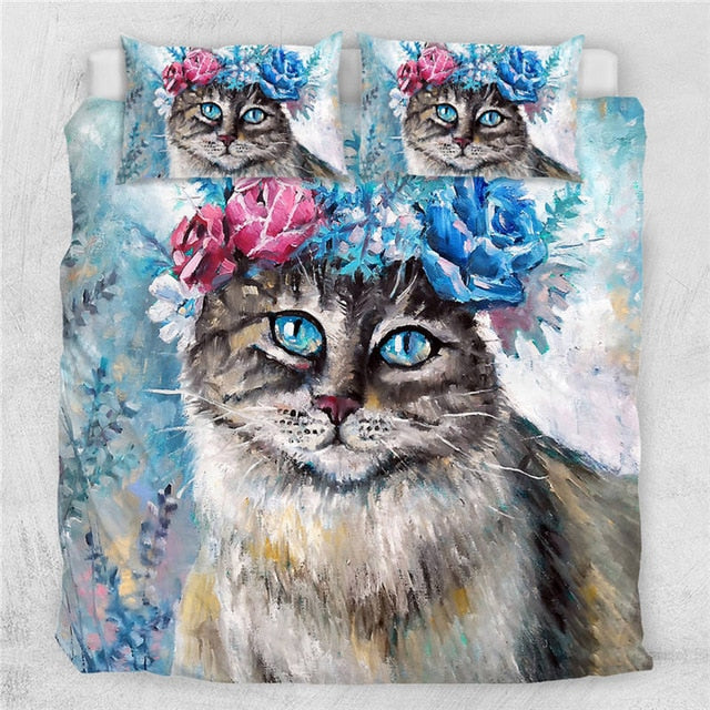 Cat Flower Wreath Bedding Set - Beddingify