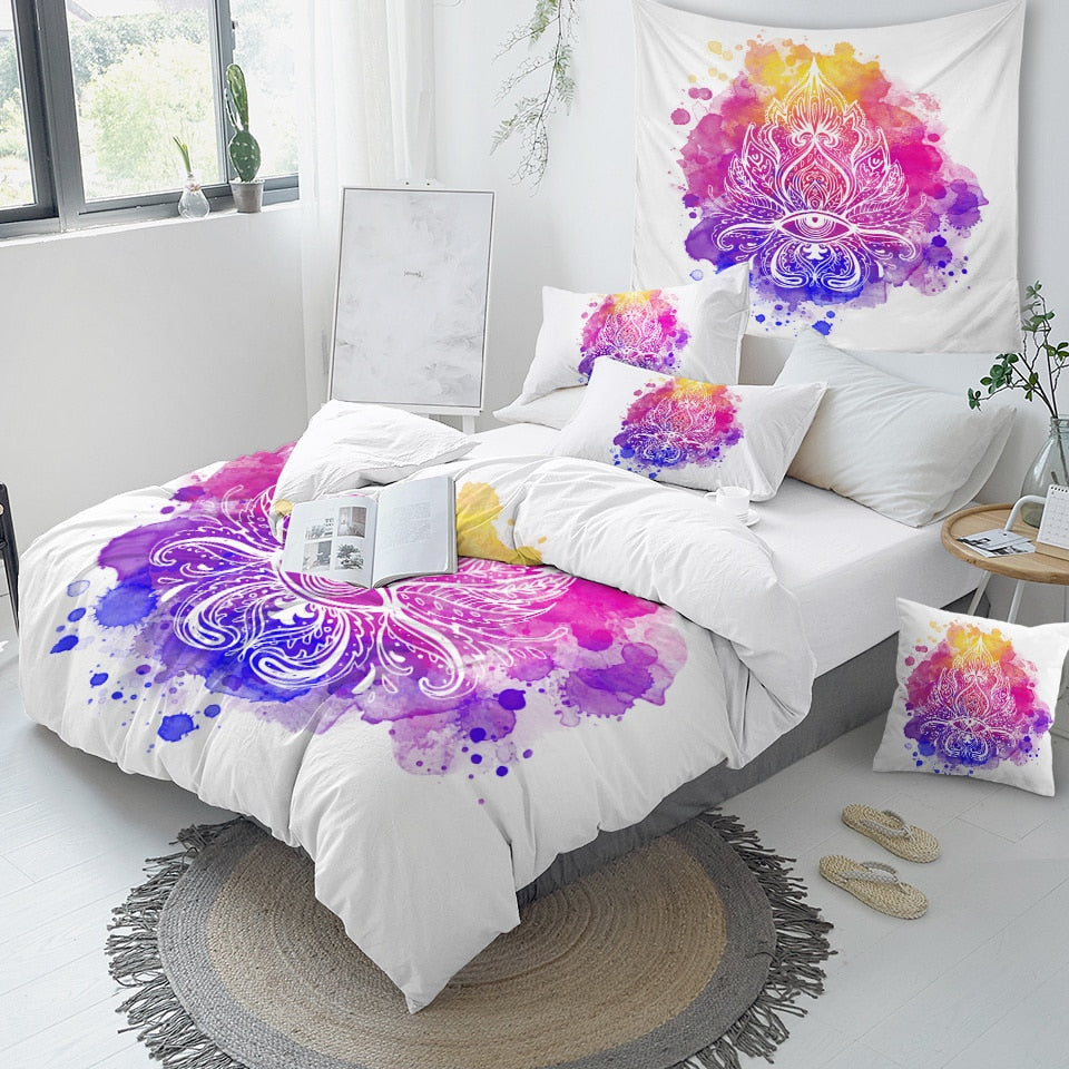 Artistic Abstract Lotus Boho Hippie Bedding Set - Beddingify