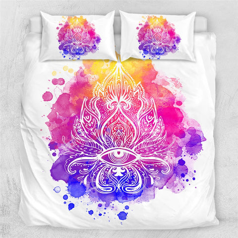 Image of Artistic Abstract Lotus Boho Hippie Bedding Set - Beddingify