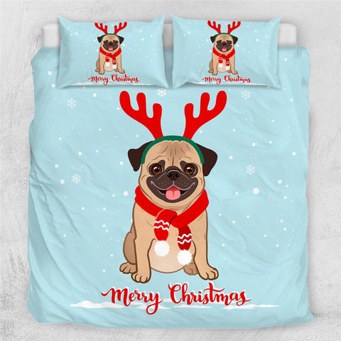 Image of Xmas Pug Comforter Set - Beddingify