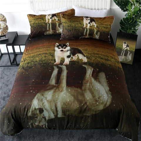 Image of Husky And Wolf Reflection Bedding Set - Beddingify