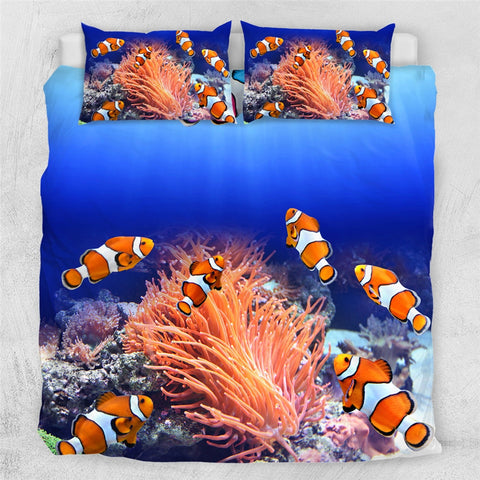 Image of Clown fish 3D Ocean Coral Duvet Bedding Set - Beddingify
