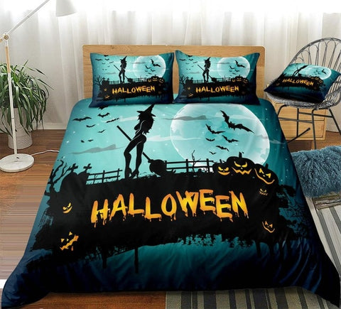 3D Blue Halloween Pumpkin Lantern Bedding Set - Beddingify