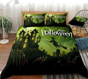 3D Halloween Witch Flying on Broom Bedding Set - Beddingify