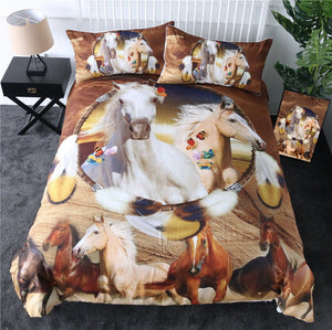 Dreamcatcher Galloping Horse Bedding Set - Beddingify
