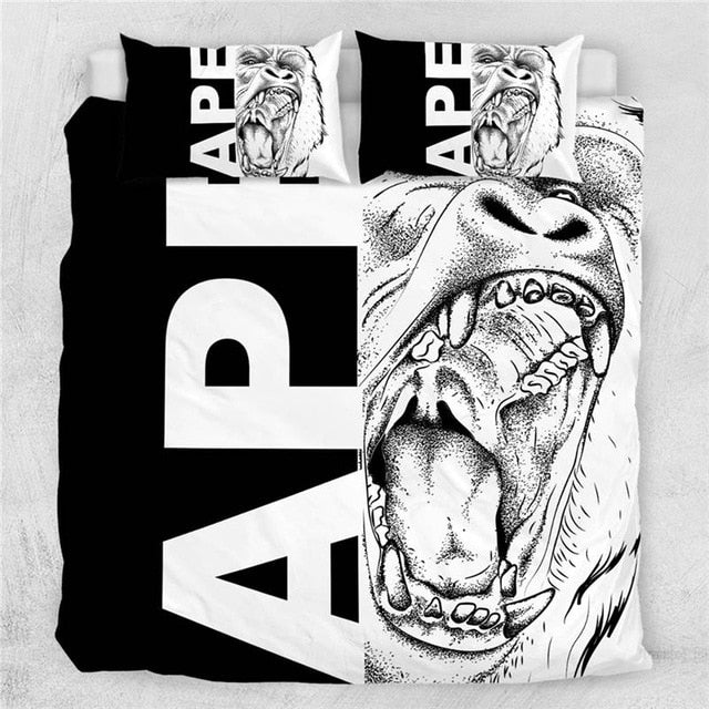 Wolf Set Letters Cool Black White Bedding Set - Beddingify