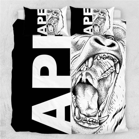 Image of Wolf Set Letters Cool Black White Bedding Set - Beddingify
