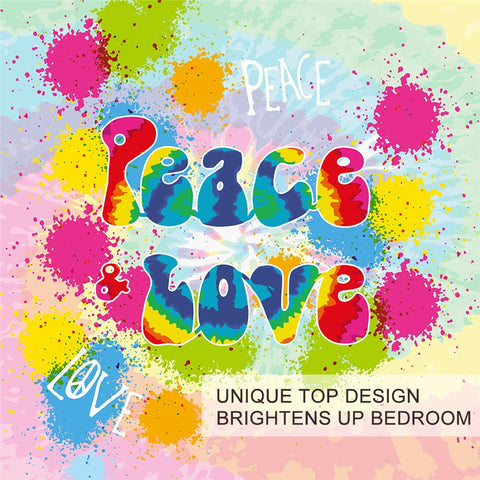 Image of Peace and Love Rainbow Duvet Cover Bedding Set - Beddingify