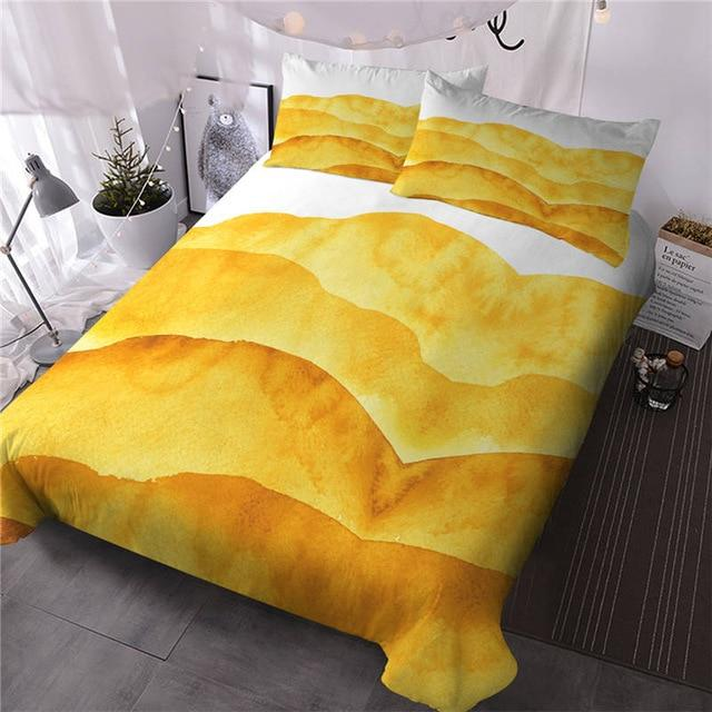 Sunset Yellow Mountain Landscape Bedding Set - Beddingify