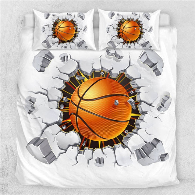 Basketball Football Cracked Bricks Wall Bedding Set - Beddingify