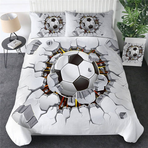 Image of Basketball Football Cracked Bricks Wall Bedding Set - Beddingify