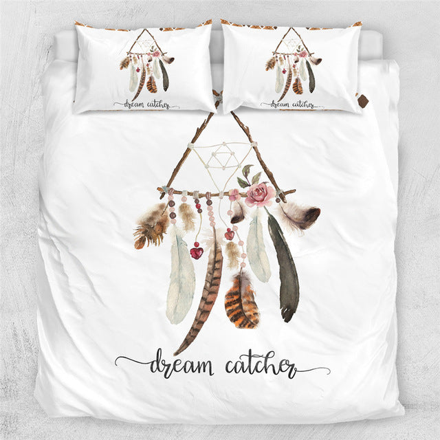 Dreamcatcher Boho Feathers Bedding Set - Beddingify