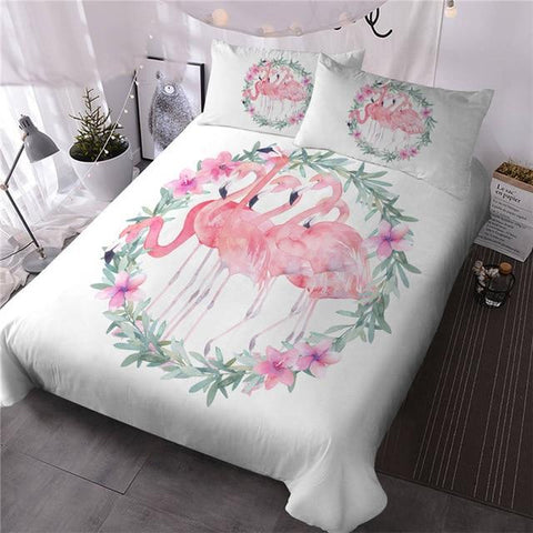 Image of Pink Flamingo Romantic Comforter Set - Beddingify