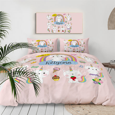Cartoon Cat With Unicorn Horn Bedding Set for Kid - Beddingify