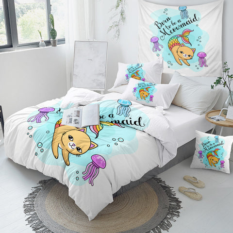 Cartoon Cat Mermaid Bedding Set for Kid - Beddingify