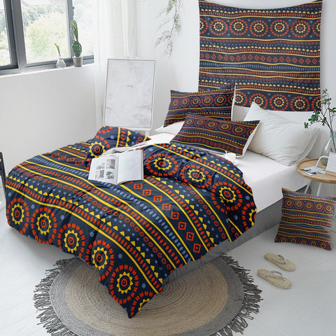 Black Geometric Aztec African Bedding Set - Beddingify