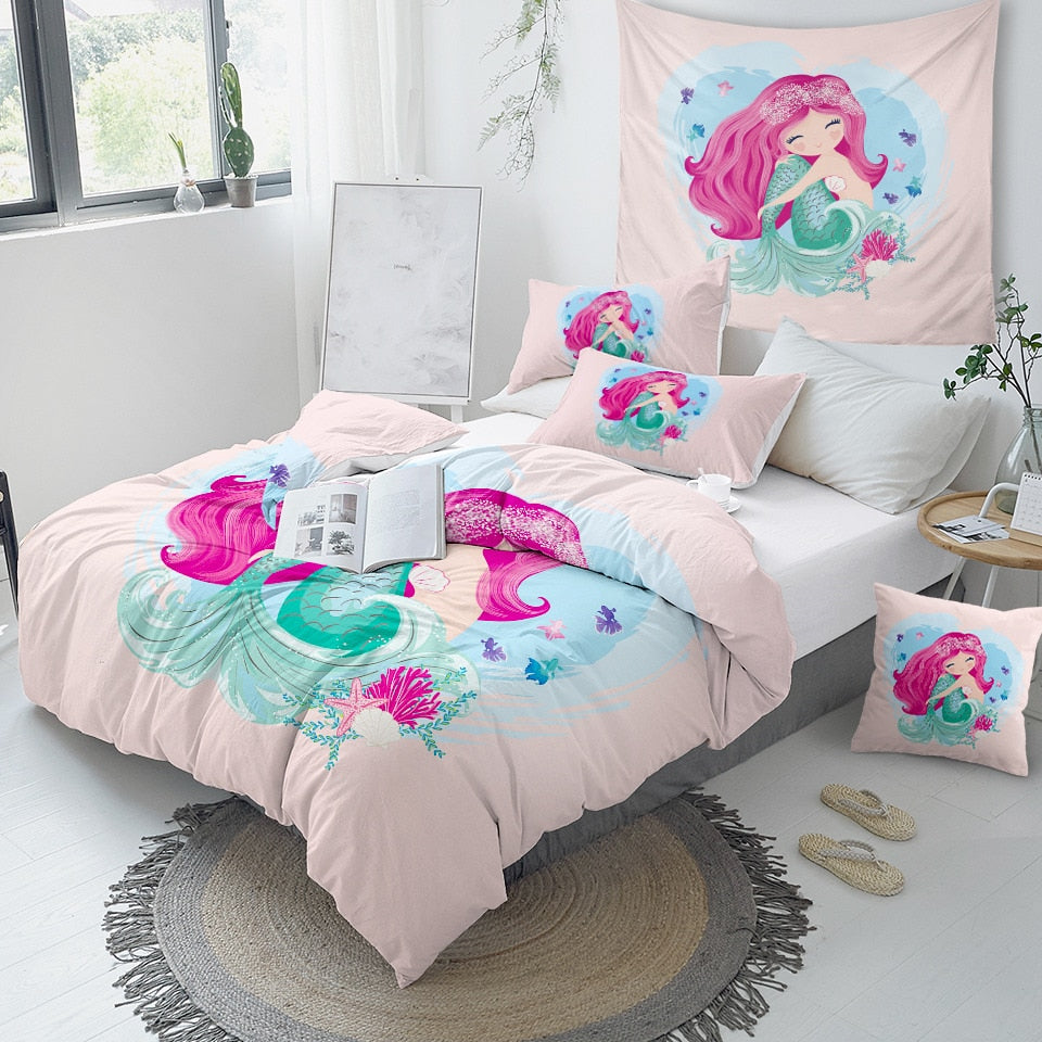 Pink Mermaid Girls Bedding Set - Beddingify