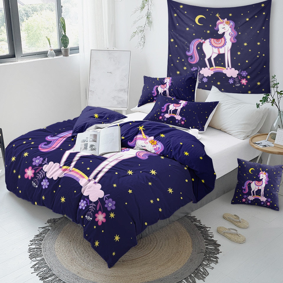 Purple Cartoon Unicorn Bedding Set - Beddingify