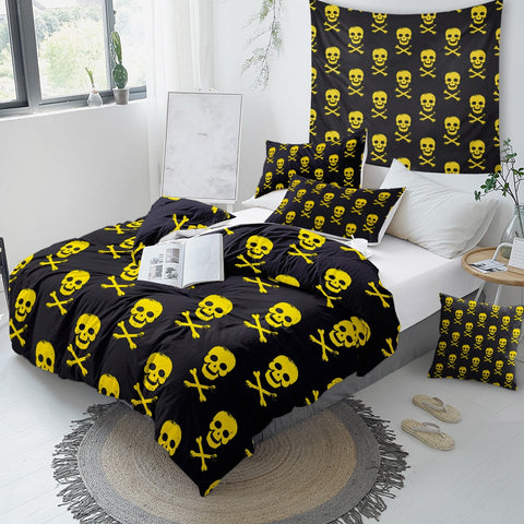 Image of Yellow Black Skull Bedding Set - Beddingify
