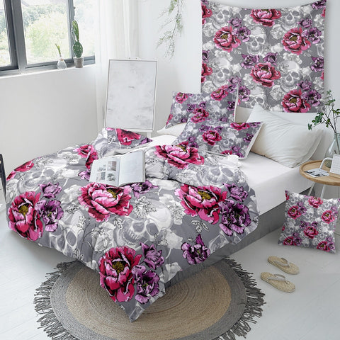 Floral Sugar Skull Bedding Set - Beddingify