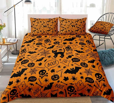 Image of Halloween Skull and Bats Orange Bedding Set